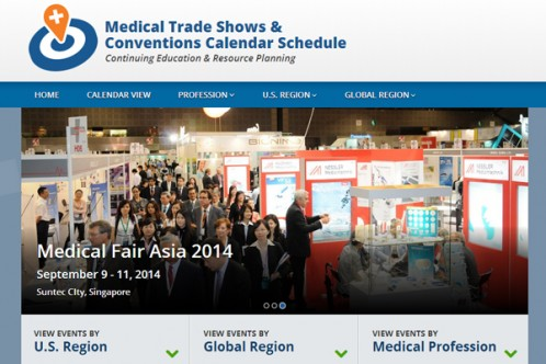 The calendar is a continually-updating guide to medical trade shows and conventions in the United States and around the world.