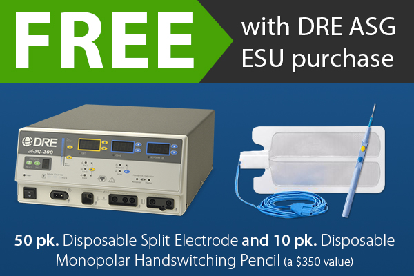 For a limited time, receive FREE electrosurgical supplies when you purchase any DRE ASG ESU model.