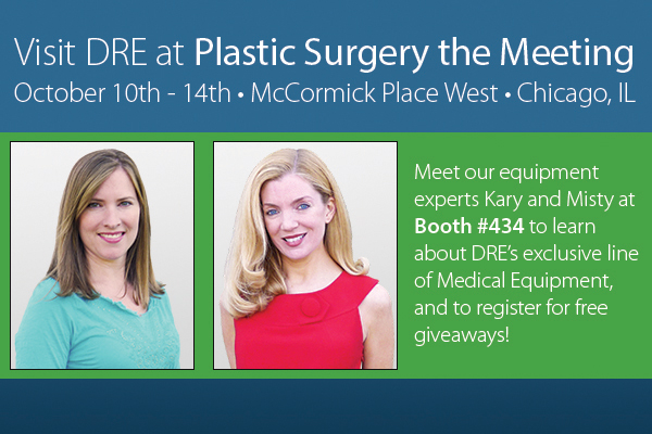 Meet our equipment experts Kary and Misty at Booth #434 to learn about DRE's exclusive line of medical equipment, and to register for free giveaways!