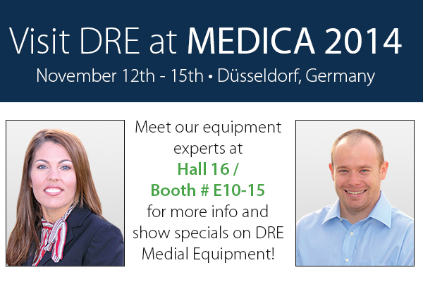Meet our equipment experts at Hall 16 / Booth #E10-15 for more info and show specials on DRE Medical Equipment!